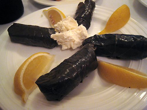 Reds produce stuffed vine leaves and french feta