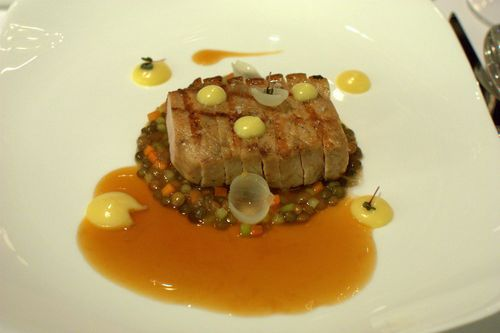 Onyx mangalitza marmalade with lentil foam, and charbroiled mangalitza loin with lentil