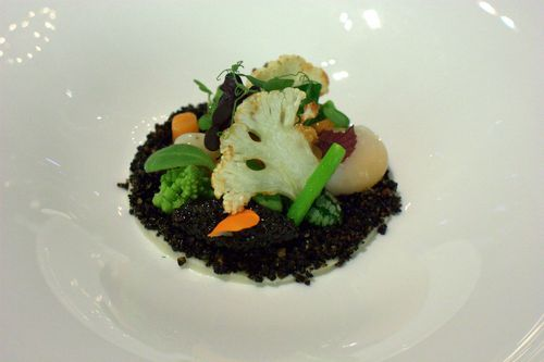 "Onyx hungarian sturgeon caviar with cauliflower puree, vegetables, ""black soil"""