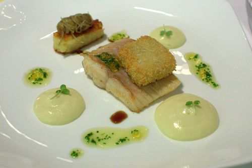 Onyx danube salmon, luke warm potato salad, crispy veal
