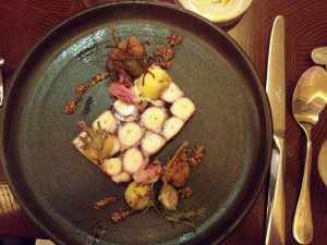 batard octopus pastrami, braised ham hock, pommery mustard, new potatoes