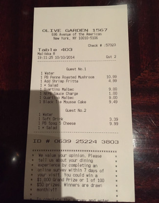 olive garden nepb receipt