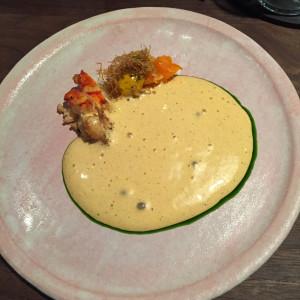 lobster, sweet potato, tonburi, sauce