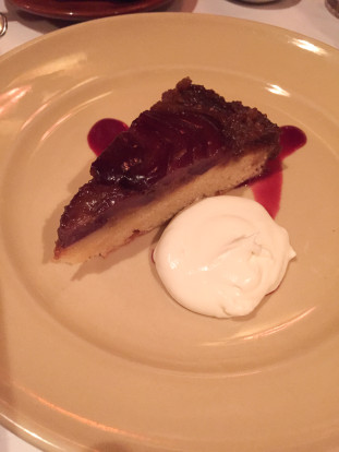 chez panisse cafe red wine bosc pear upside-down cake with creme fraiche