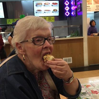 grandma eating takoyaki