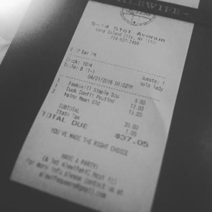 alewife solo lady receipt