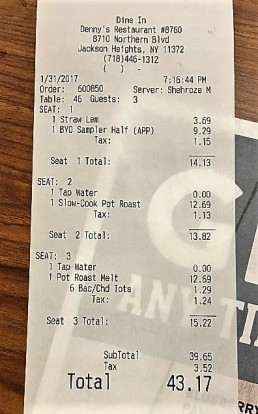 denny's receipt